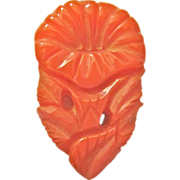 Orange Morning Glory Bakelite Dress Clip