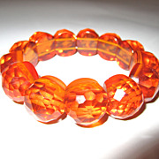 Honey Amber-Toned Transparent Bakelite Stretchy Bracelet