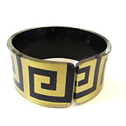 Greek Key Meander Pattern Lucite Painted Cuff Bracelet -- Book Piece
