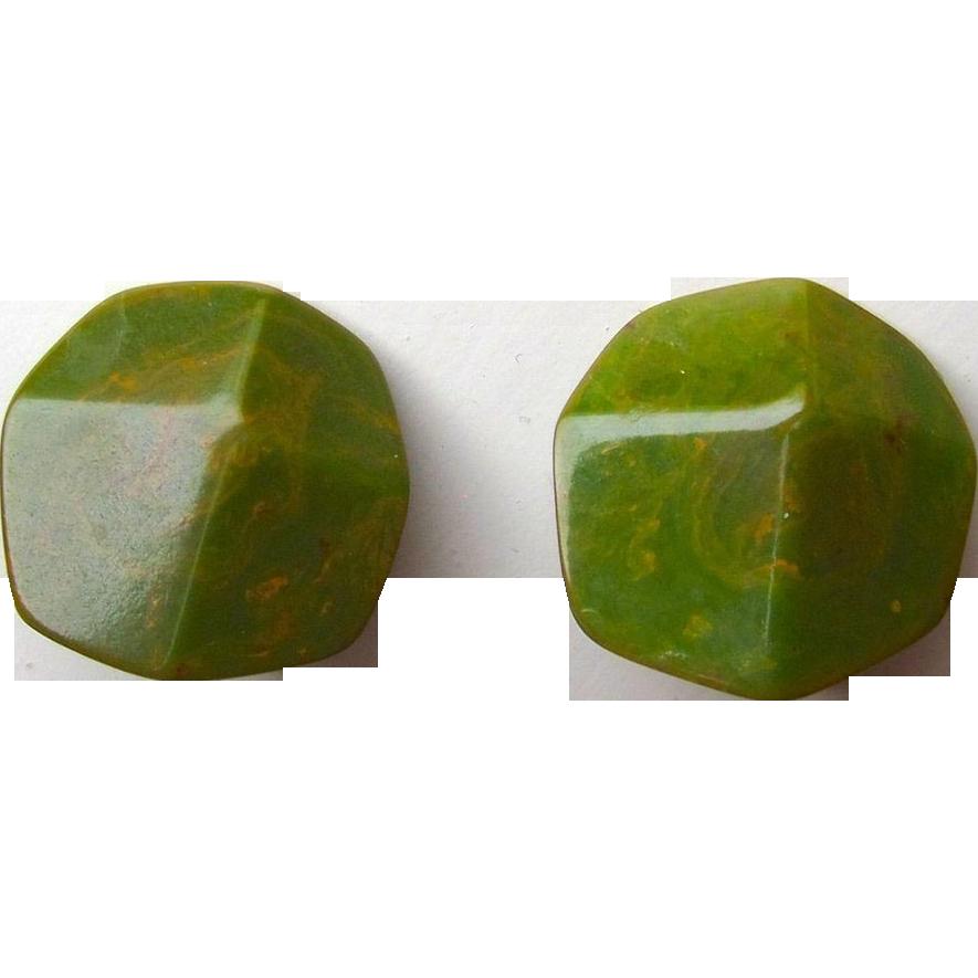 Green Marbled Bakelite Faceted Clip Earrings