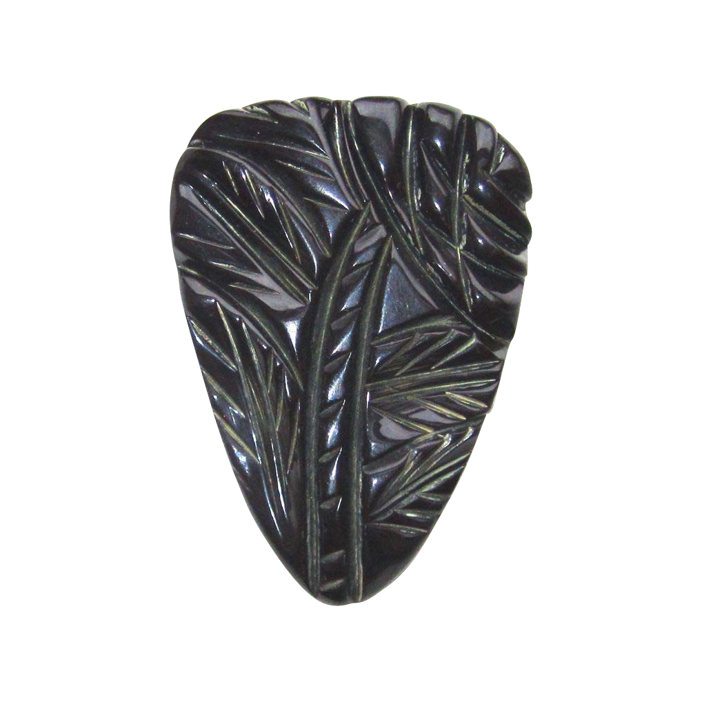 Black Bakelite Floral Carved Dress Clip