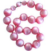 Large Pink Graduated Moonglow Lucite Necklace