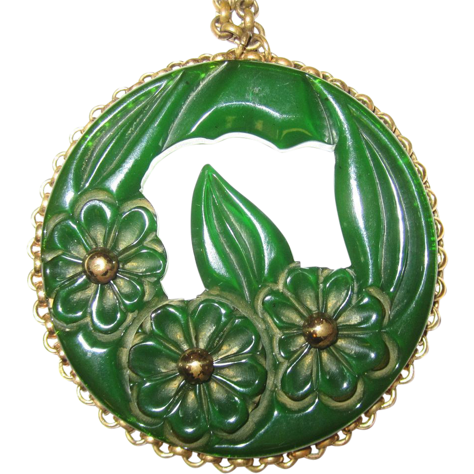 Translucent Green Bakelite Floral Carved Pendant