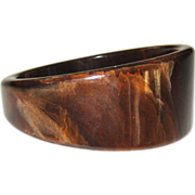 Asymmetrical Marbled Vintage Bakelite Bangle