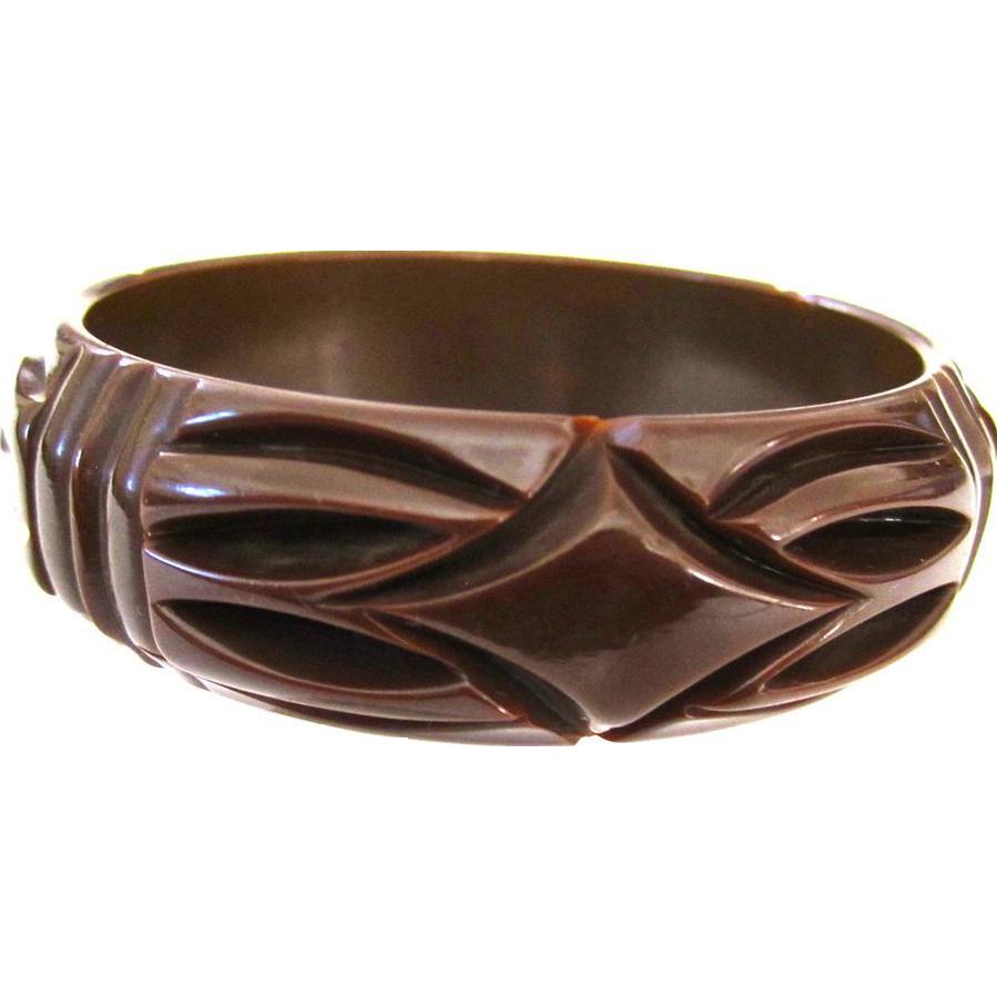 Deeply Carved Vintage Bakelite Bangle