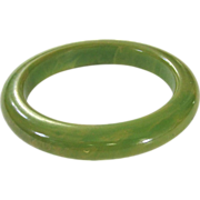 Green Marbled Bakelite Bangle Bracelet