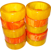 Ten Vintage Bakelite Napkin Rings Yellow and Orange Marbled