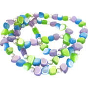 Vintage Pastel Moonglow Lucite Bead Necklace