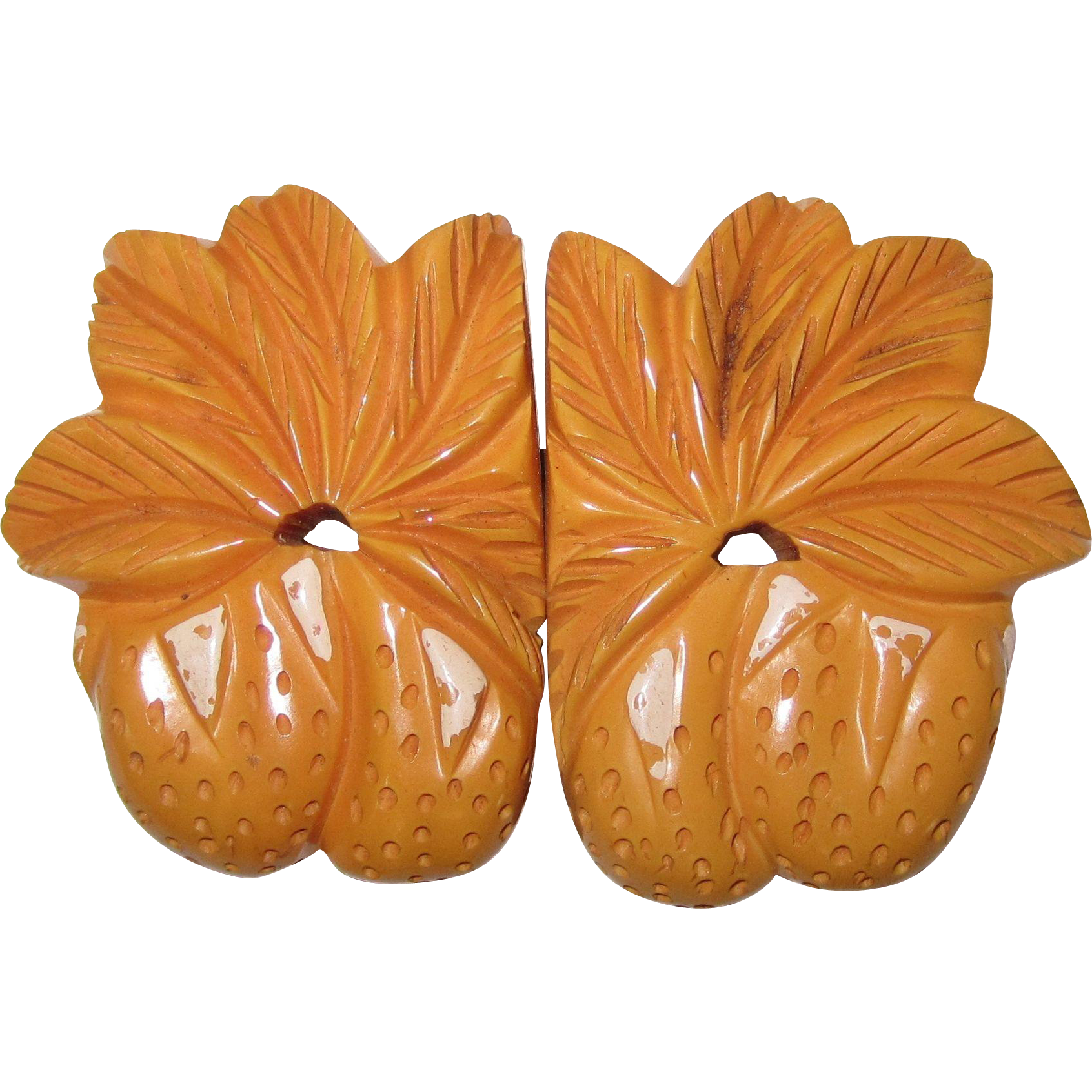 Figural Strawberry Carved Two-Piece Bakelite Buckle