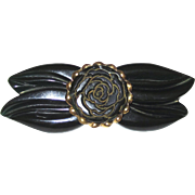 Dark Green Bakelite Floral and Leaf Pin with Brass Trim
