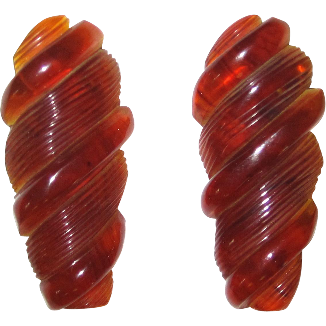 Marbled Translucent Caramel Carved clips