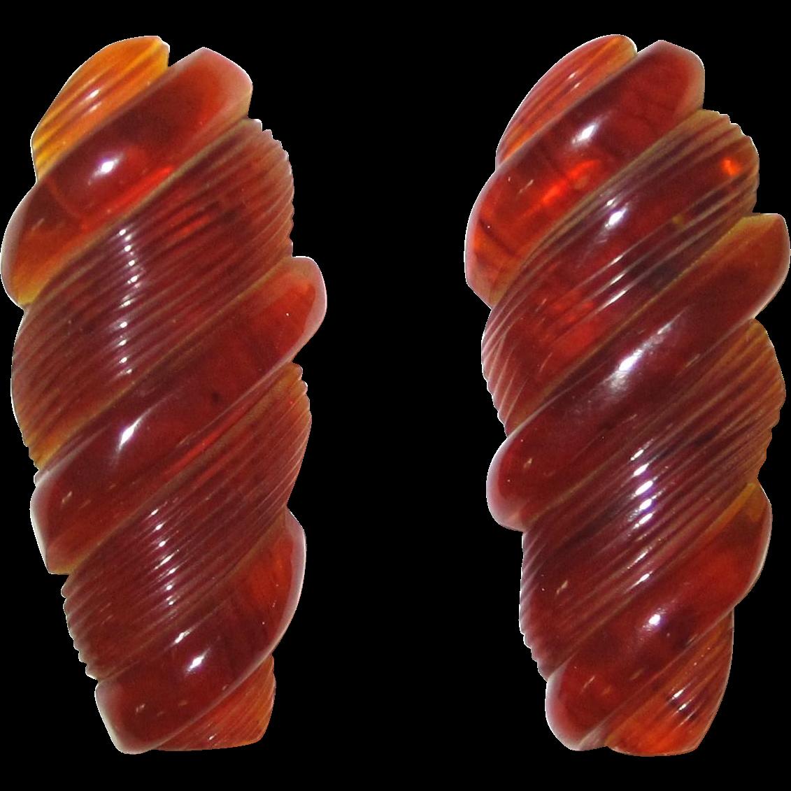 Marbled Translucent Caramel Carved clips