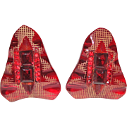 Pair of Red Carved Bakelite Dress Clips with Rhinestones