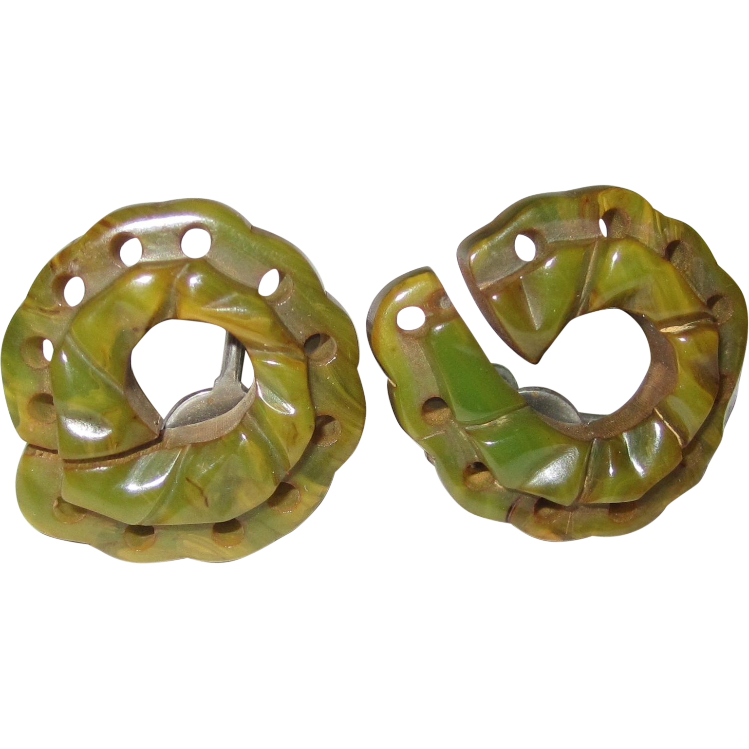 Unusual Carved and Pierced Bakelite Screwback Earrings