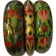 Trio of Hand-Painted Indian Papier Mâché Bangle Bracelets