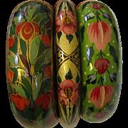 Trio of Hand-Painted Indian Papier Mâché Bangle Bracelets