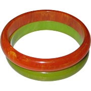 Pair of Marbled Bakelite Bangle Bracelets