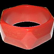Wide Shaved Carved Geometric Bakelite Bangle Bracelet