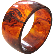Wide Marbled Root Beer Bakelite Bangle Bracelet