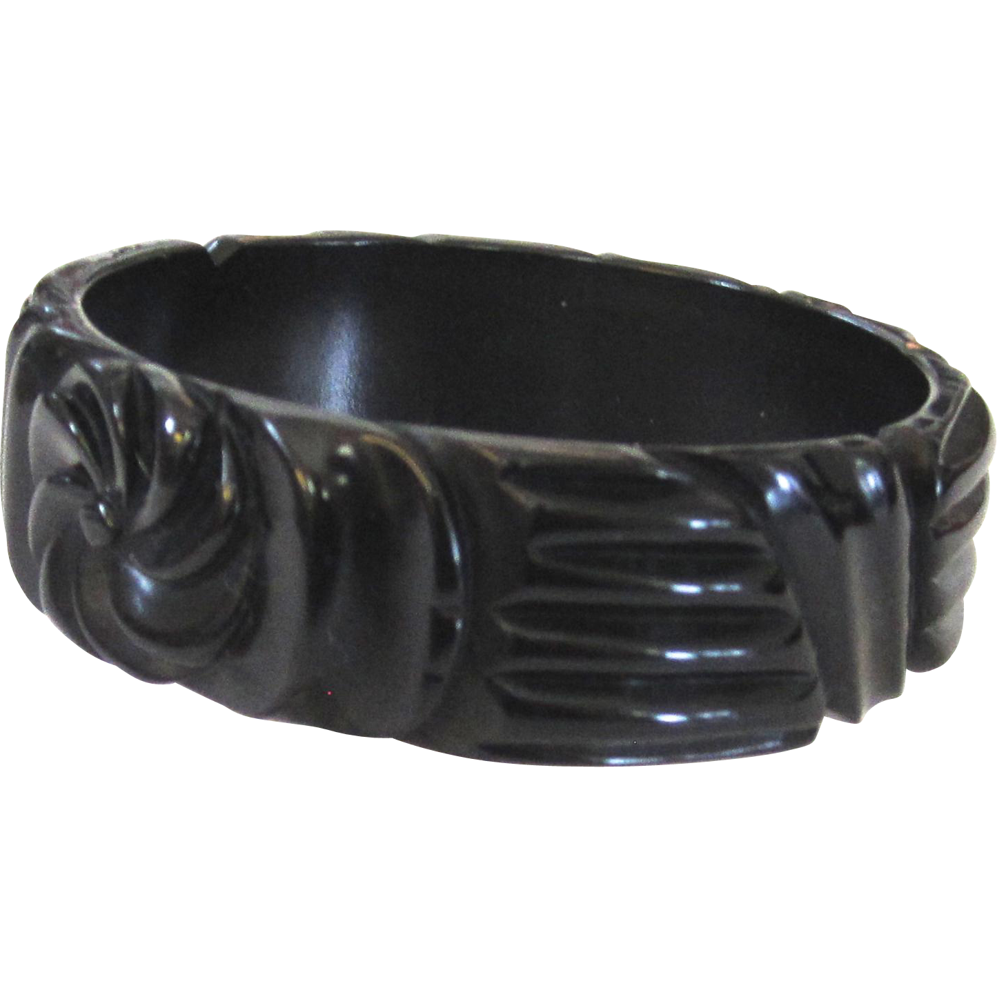 Nicely Carved Black Bakelite Bangle