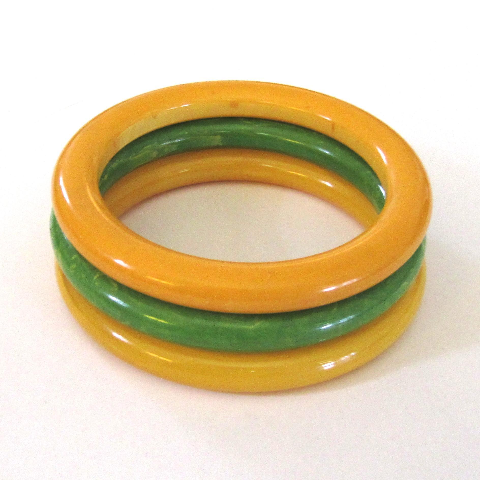 Three Marbled Bakelite Tube Bangle Bracelets