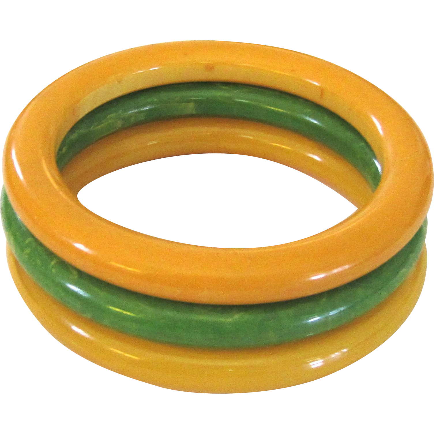 Three Marbled Bakelite Tube Bangle Bracelets