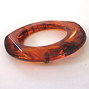 Root Beer Marbled Bakelite Pin Brooch
