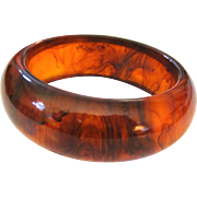Large Glowing Root Beer Bakelite Bangle Bracelet