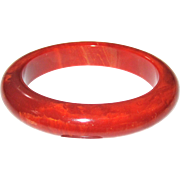 Orange Red Marbled Bakelite Bangle Bracelet