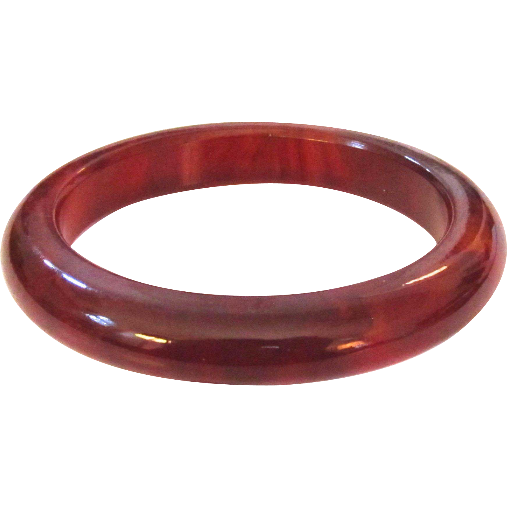 Dark Cherry Marbled Bakelite Bangle Bracelet