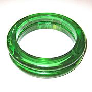 Pair Green Transparent Marbled Bakelite Bangle Bracelets