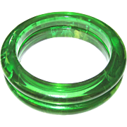 Pair Green Transparent Marbled Bakelite Bangle Bracelets