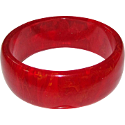 Translucent Red Marbled Bakelite Bangle Bracelet
