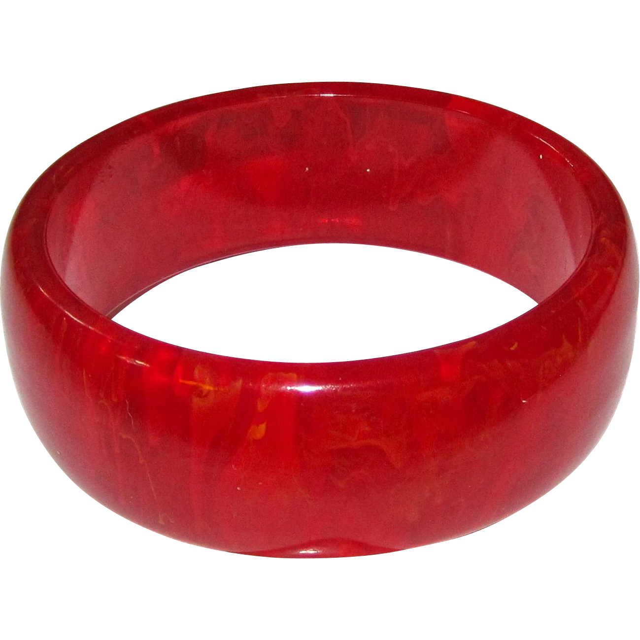 Translucent Red Marbled Bakelite Bangle Bracelet