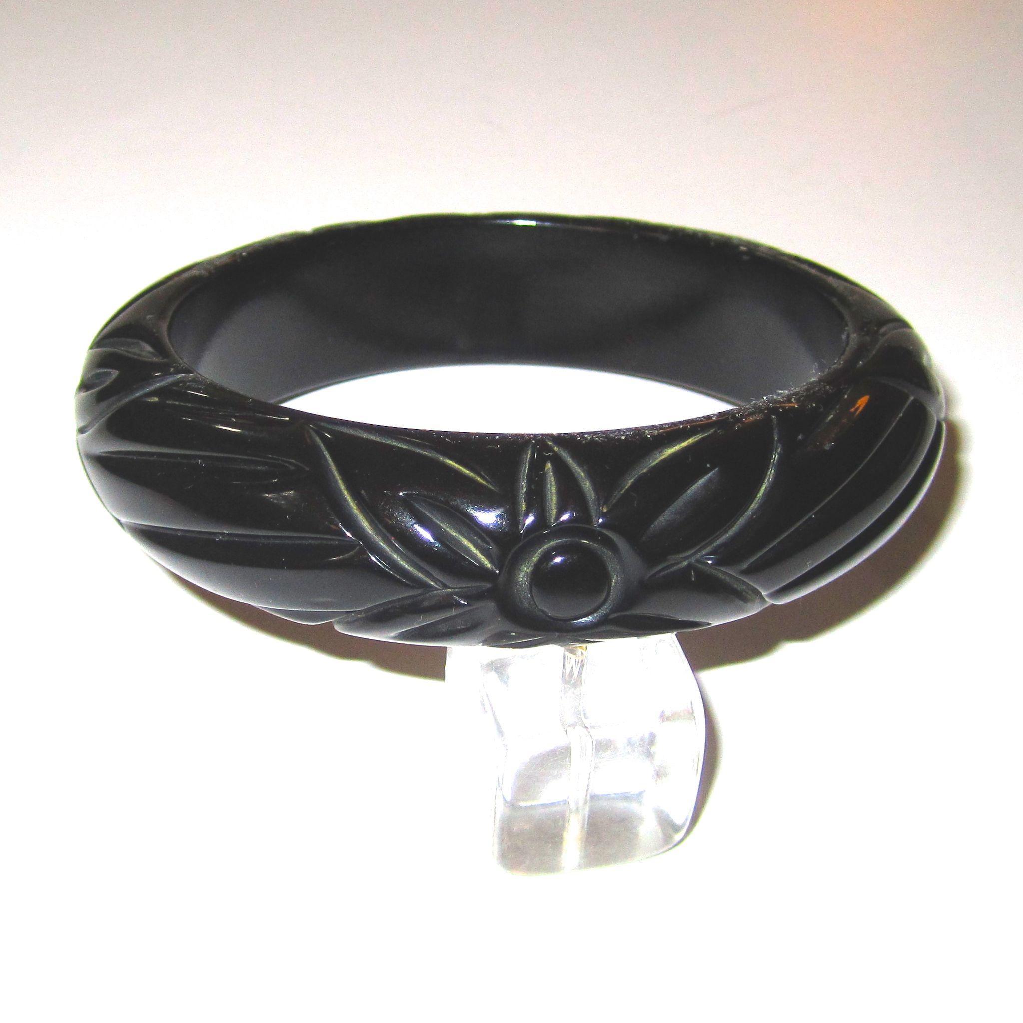 True Black Carved Bakelite Bangle Bracelet