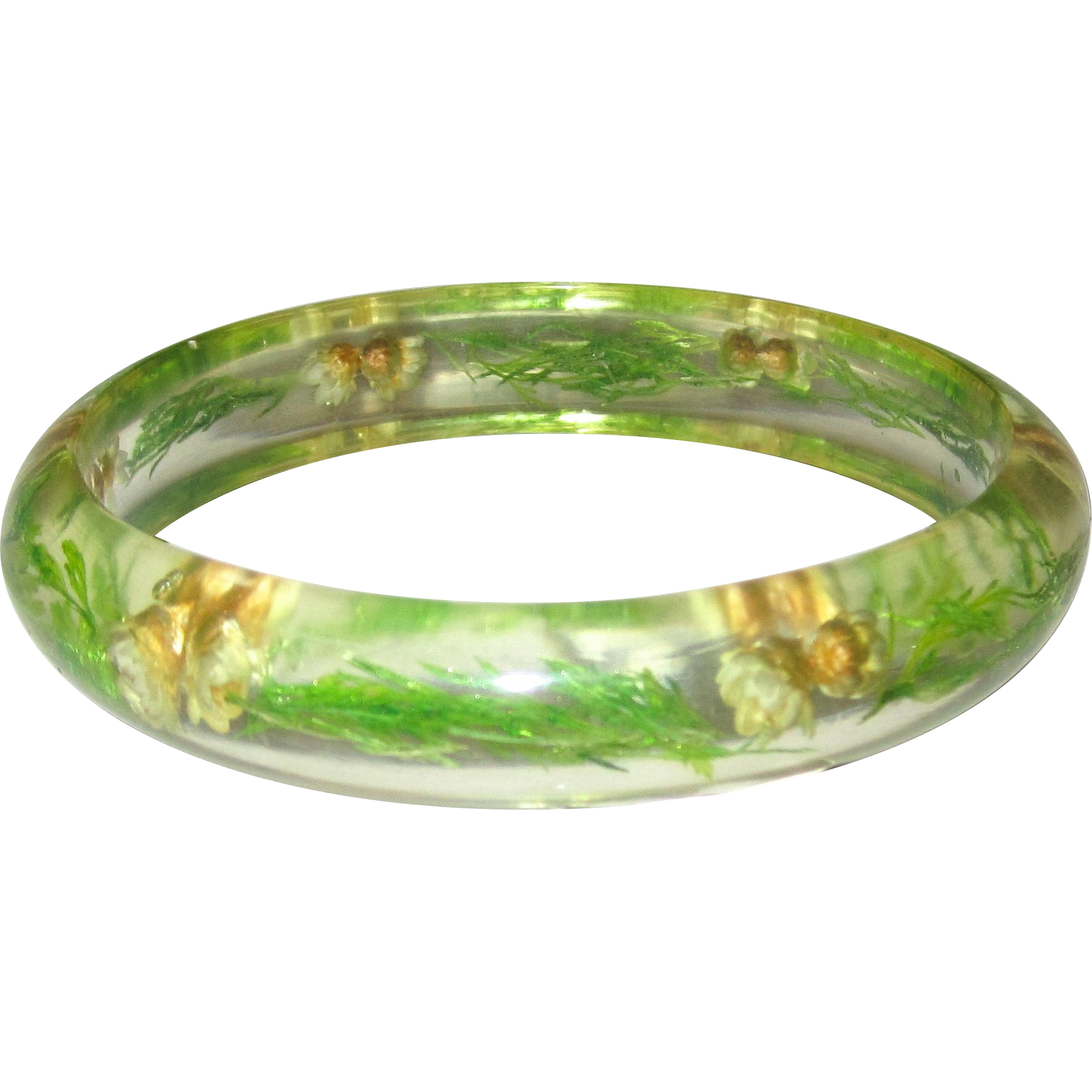 Lucite Bangle Bracelet with Flowers and Ferns -- Larger Size