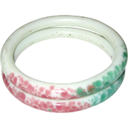 Peking Glass Sewing Basket Bangle Bracelets