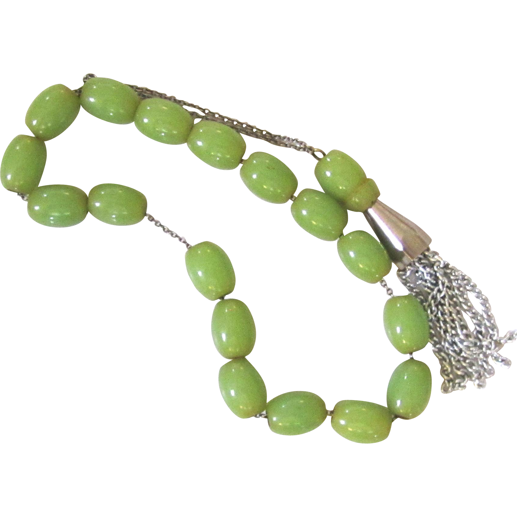 Light Green Bakelite Komboloi Worry or Prayer Beads