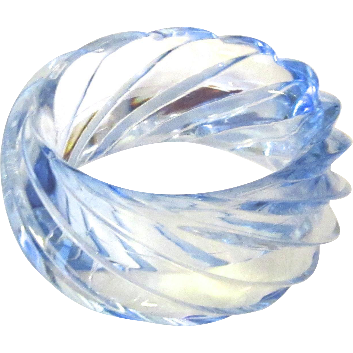Huge Vintage Pale Blue Transparent Plastic Swirl Bangle West Germany