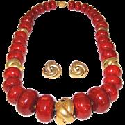 Impressive Vintage Bakelite Signed Marvella Necklace and Earrings Set