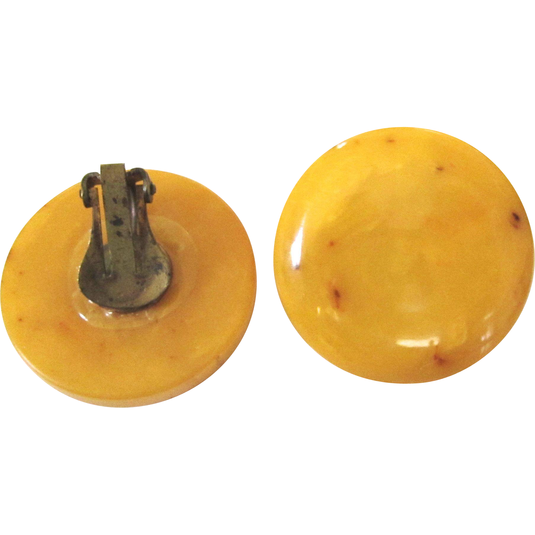 Large Vintage Butterscotch Marbled Bakelite Earrings