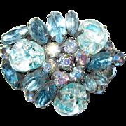 Vintage Blue Rhinestone and Art Glass Brooch / Pin