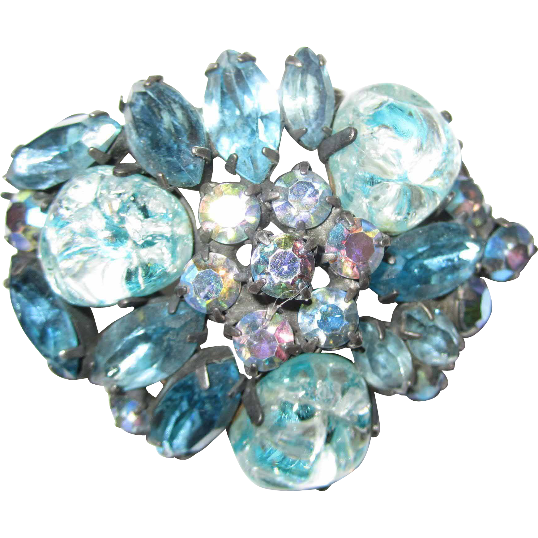 Vintage Blue Rhinestone and Art Glass Brooch / Pin