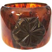 Large Wide Bakelite Bangle Bracelet with Applied Flower