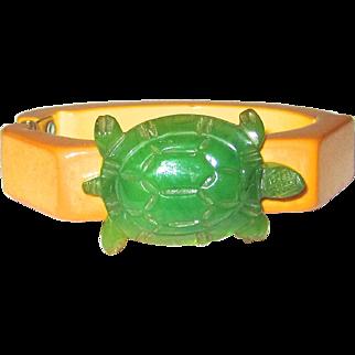 Adorable and Unusual Bakelite Hinge Bracelet with Turtle