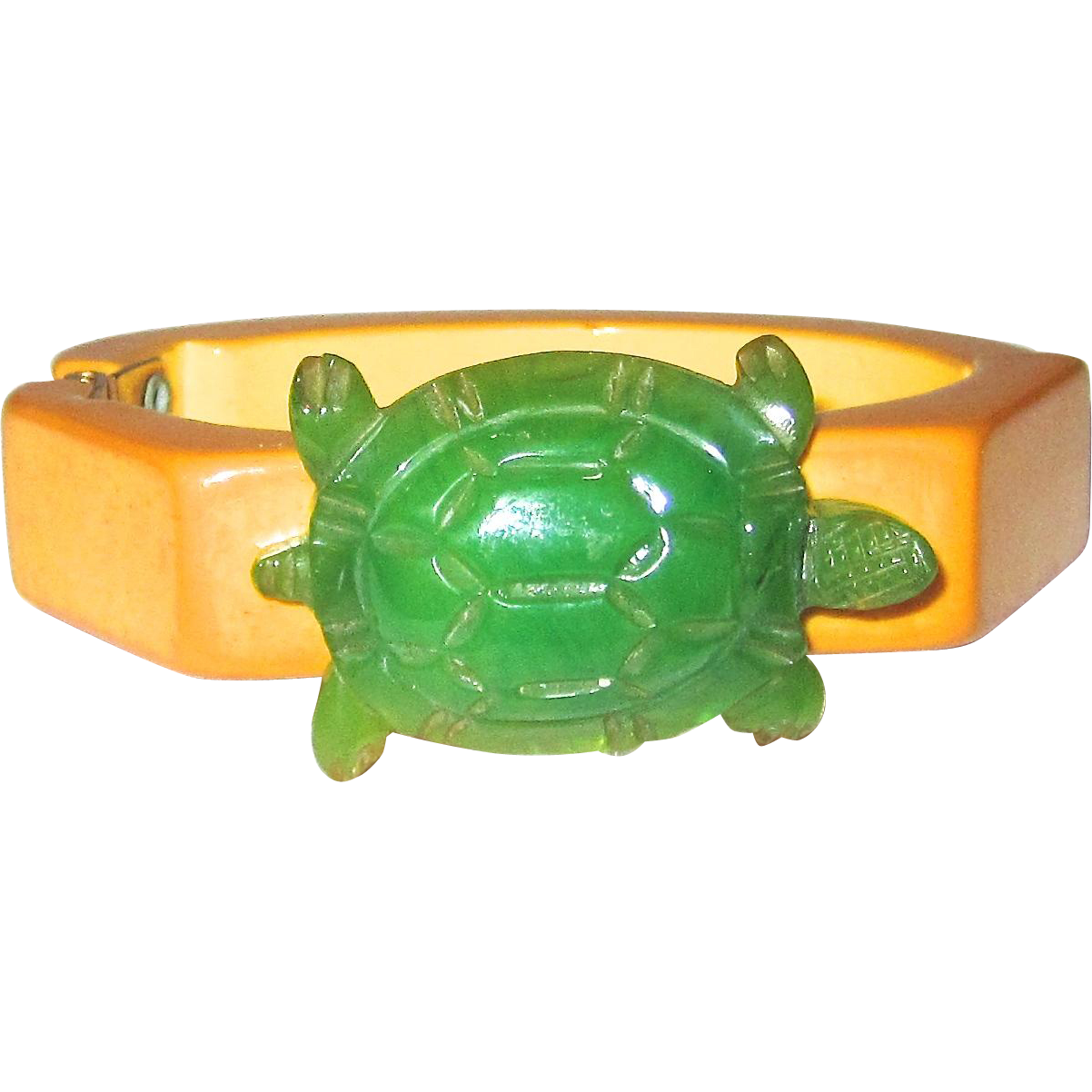 Adorable and Unusual Bakelite Hinge Bracelet with Turtle