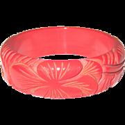 Bold Red Bakelite Bangle Bracelet with Deep Floral Carving