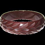 Dark Red Tire-track Carved Bakelite Bangle Bracelet