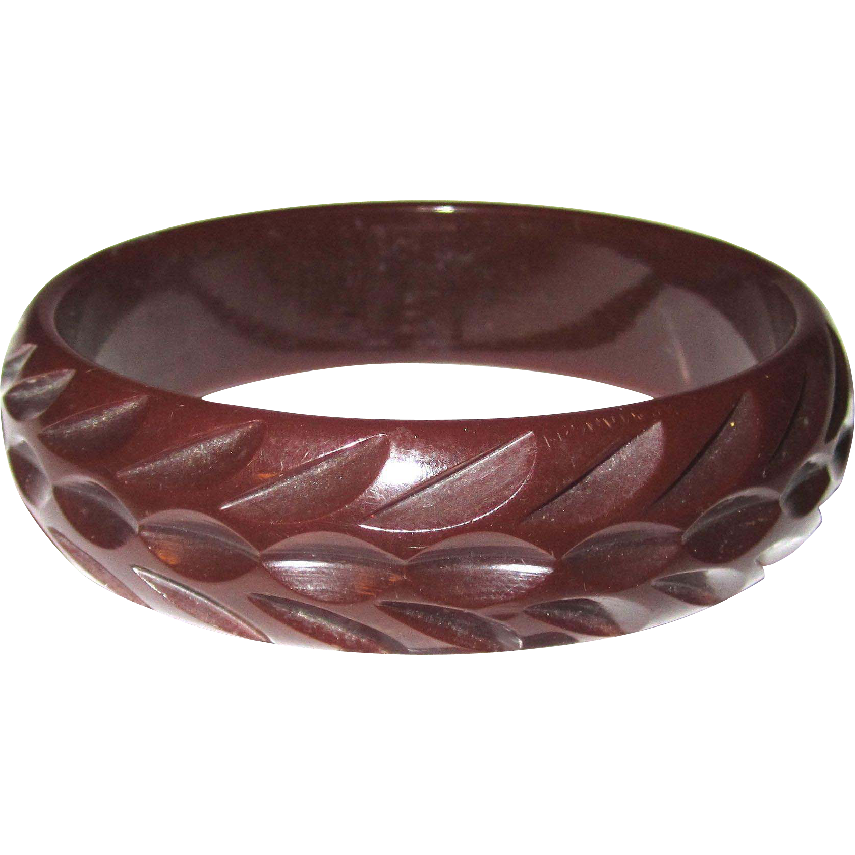 Dark Red Tire-track Carved Bakelite Bangle Bracelet