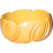 Wide Yellow Carved Bakelite Bangle Bracelet